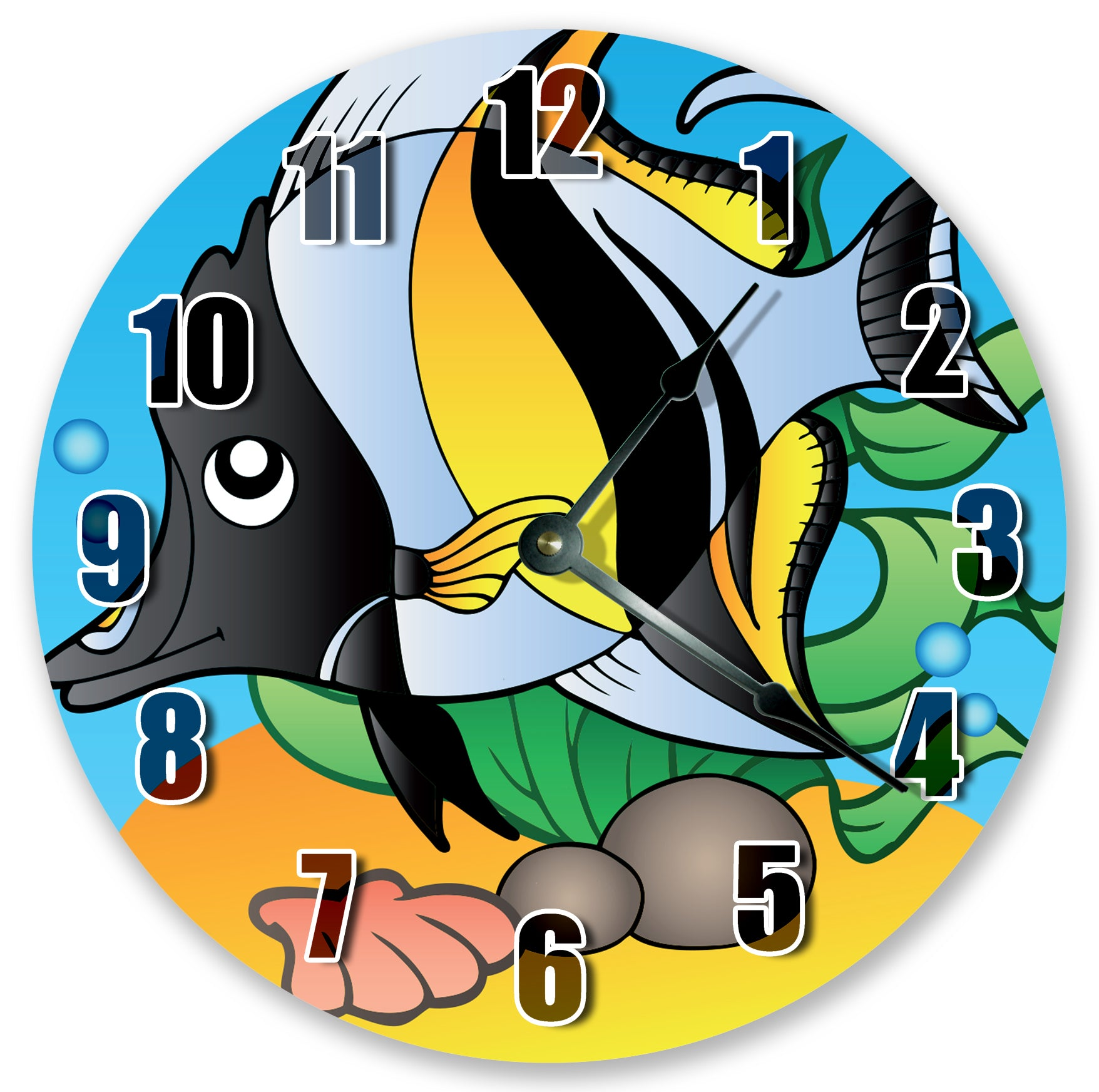Black Yellow White Fish Hanging Wall Clock
