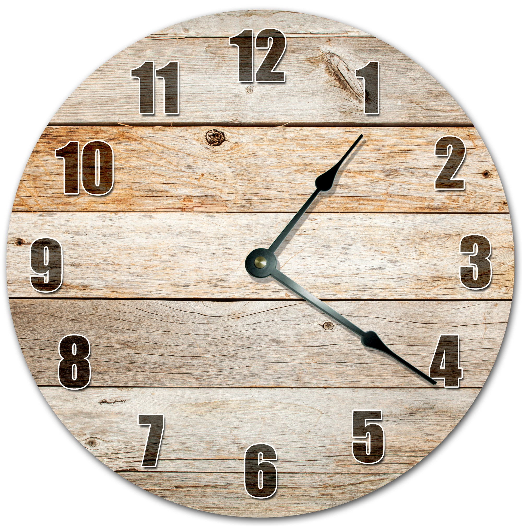 Rustic Wood Boards Hanging Wall Clock