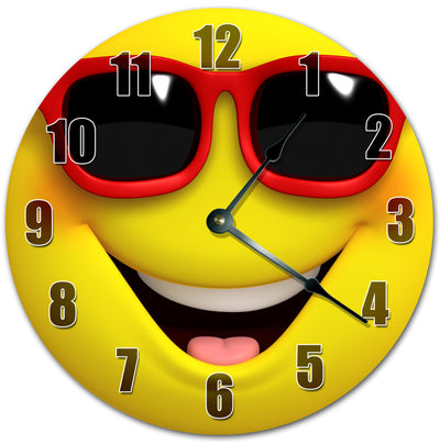 Happy Emotions In Sunglasses Handmade Hanging Wall Clock