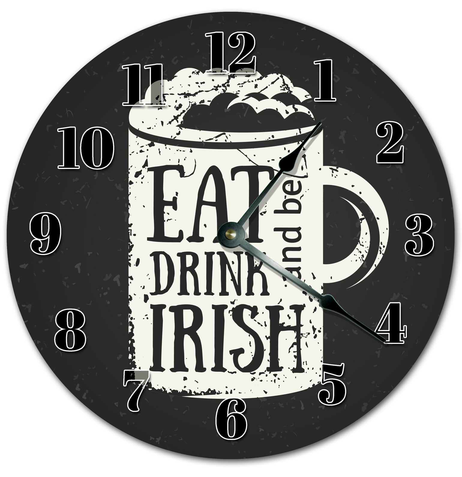 Eat Drink And Be Irish Handmade Hanging Wall Clock