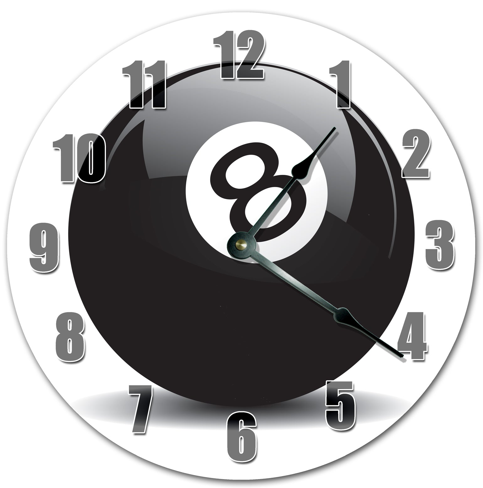 Black Eight Ball Pool Game Hanging Wall Clock