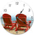 Wooden Benches At The Beach Hanging Wall Clock