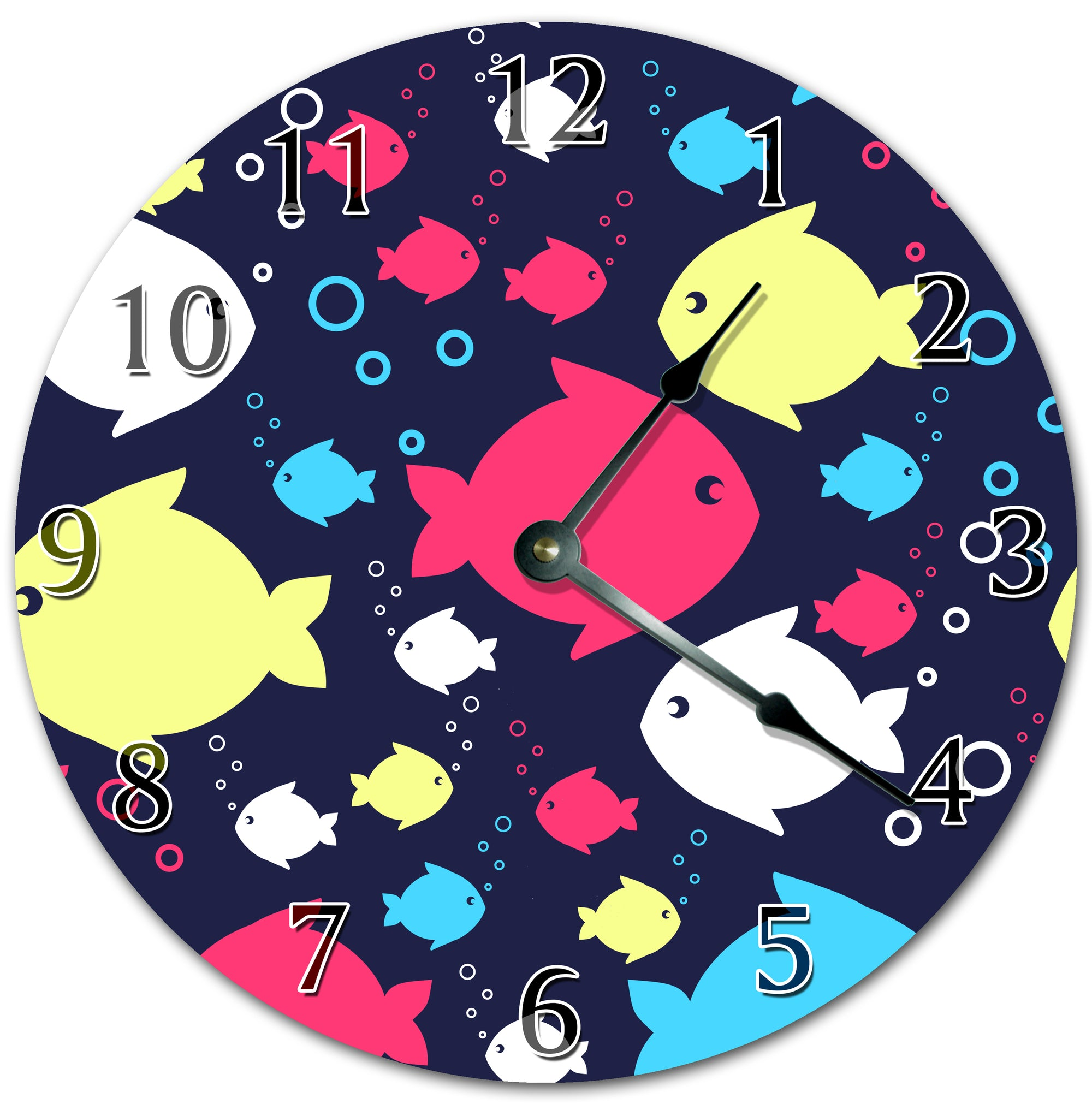 Artistic Neon Fishes Hanging Wall Clock