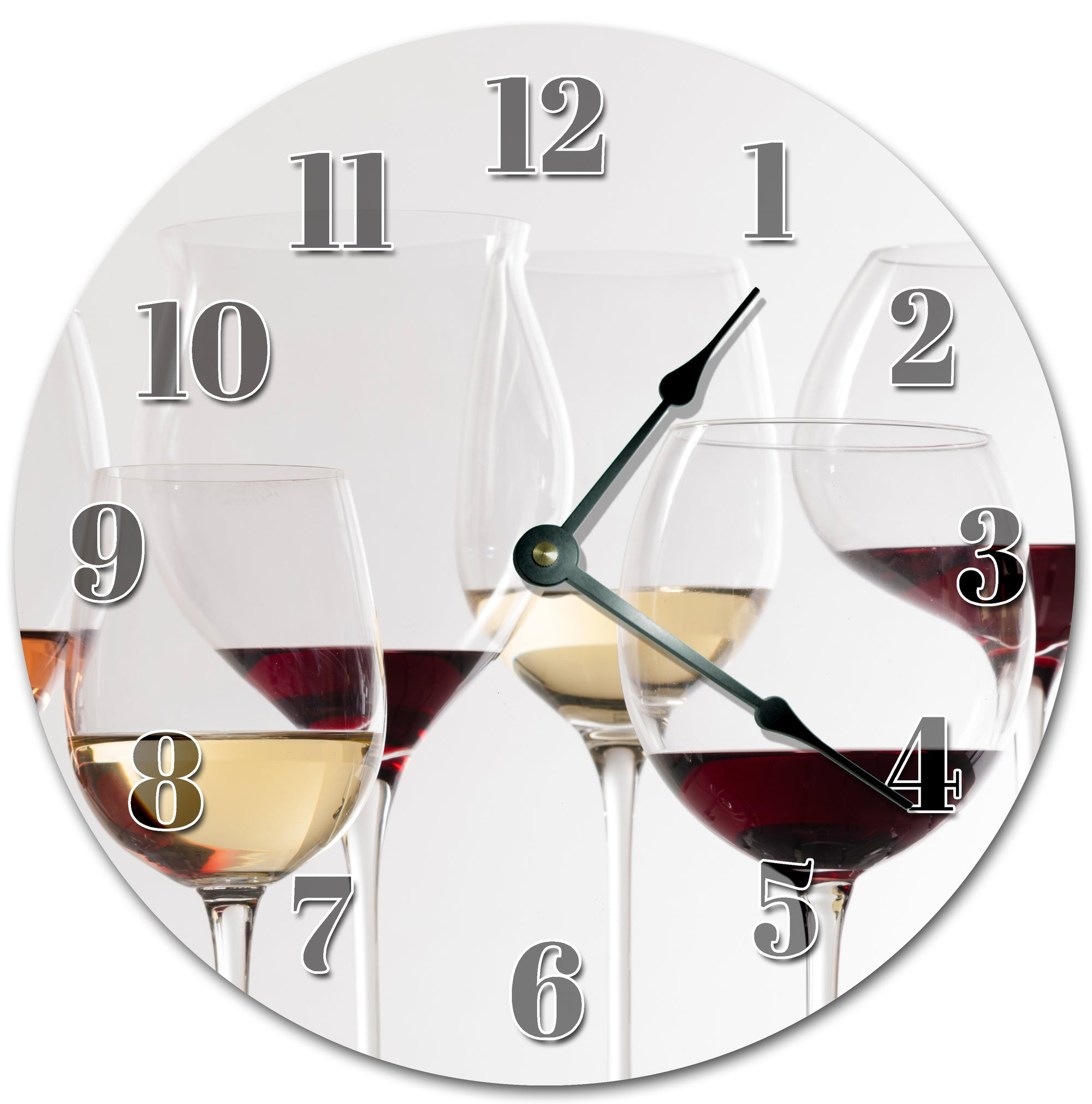 Wine In Glasses Handmade Hanging Wall Clock