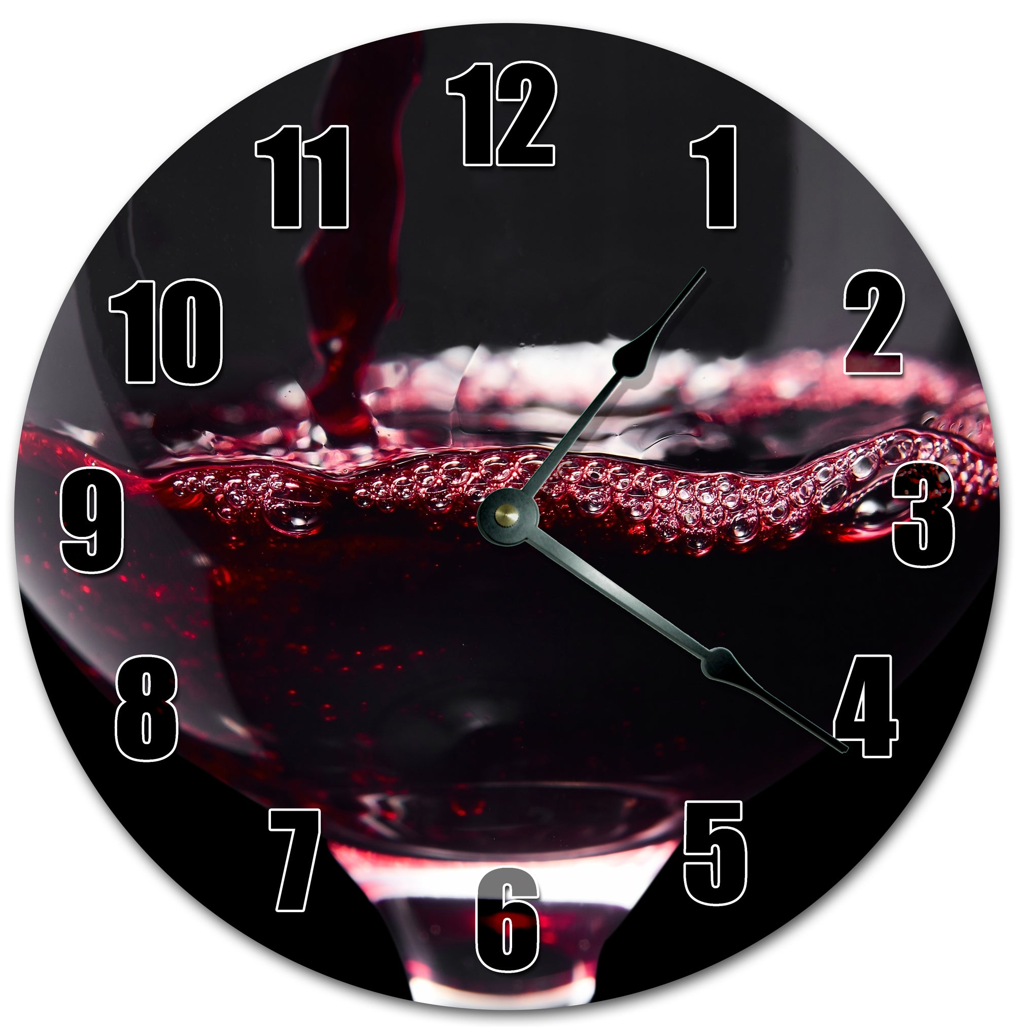 Red Wine In Glass Hanging Wall Clock