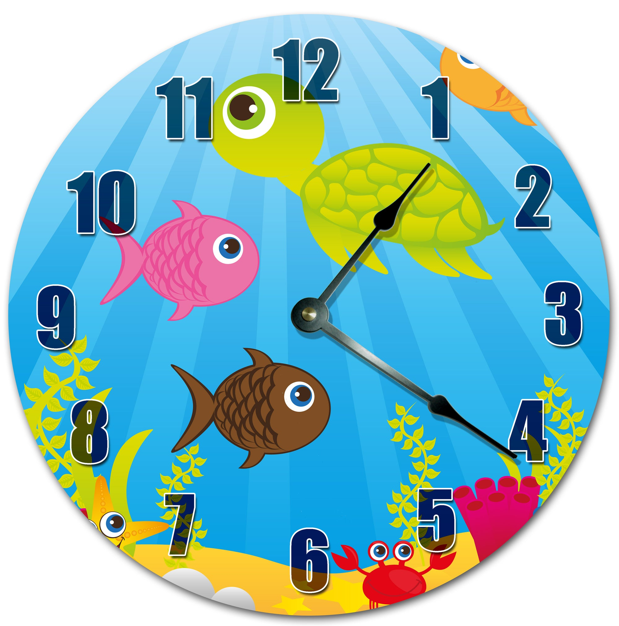 Tortise And Fishes In Image Hanging Wall Clock