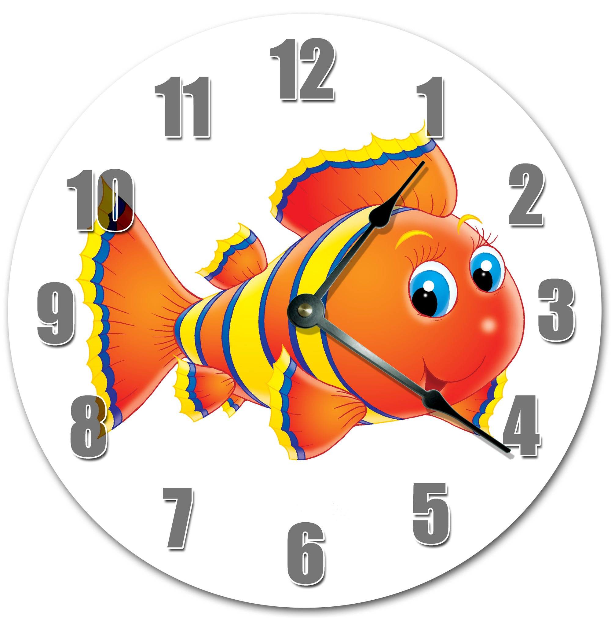 Colored Fish Image Hanging Wall Clock