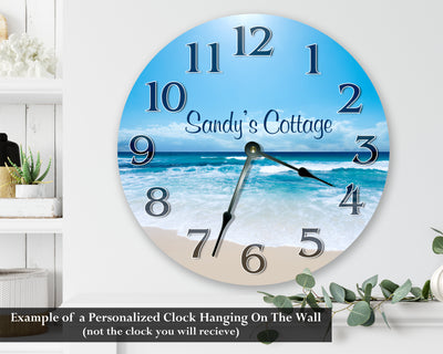 Home Blocks On Teal Wood Hanging Wall Clock
