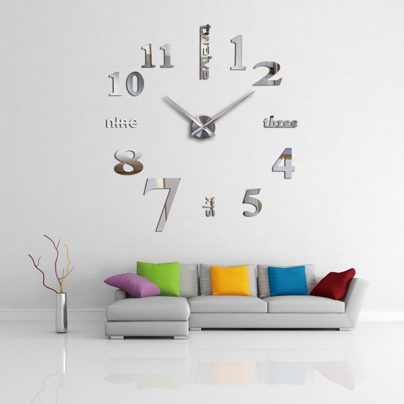 DIY Mirror Effect Sticker Wall Clock