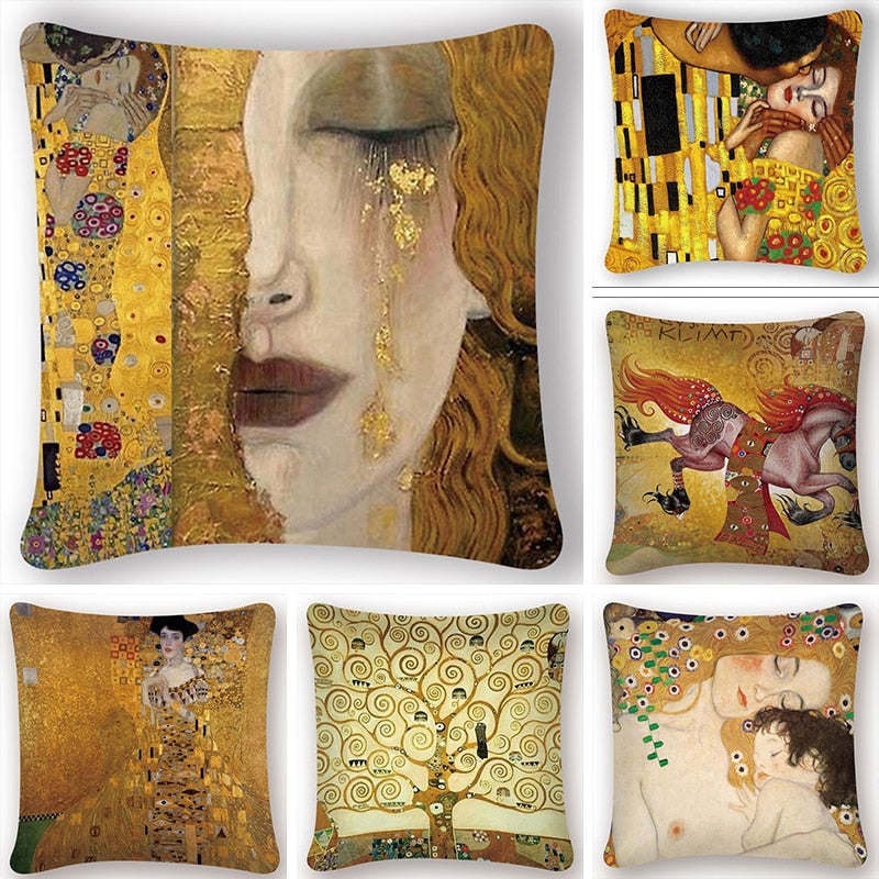 Gold Pattern Oil Painting Cushion Cover