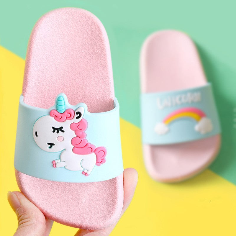 Suihyung Rainbow Unicorn Slippers For Boys Girls New Summer Kids Beach Shoes Baby Toddler Soft Indoor Slippers Children Sandals