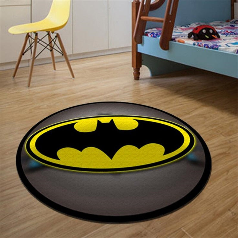Superhero Logo Printed Soft Round Carpets