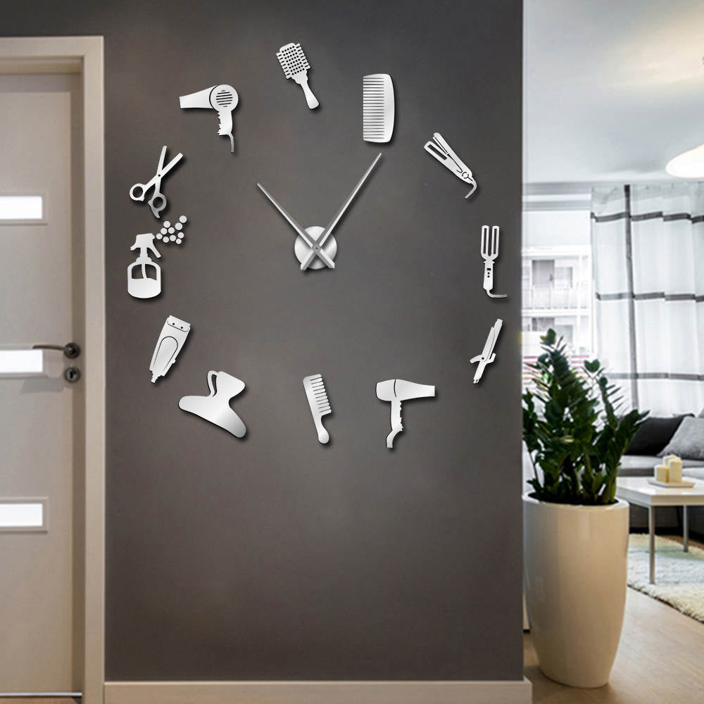 Barber Shop Hair Tool Large DIY Wall Clock Watch Stickers Frameless Beauty Salon Big Clocks Hairdresser Undefined Decor Horologe