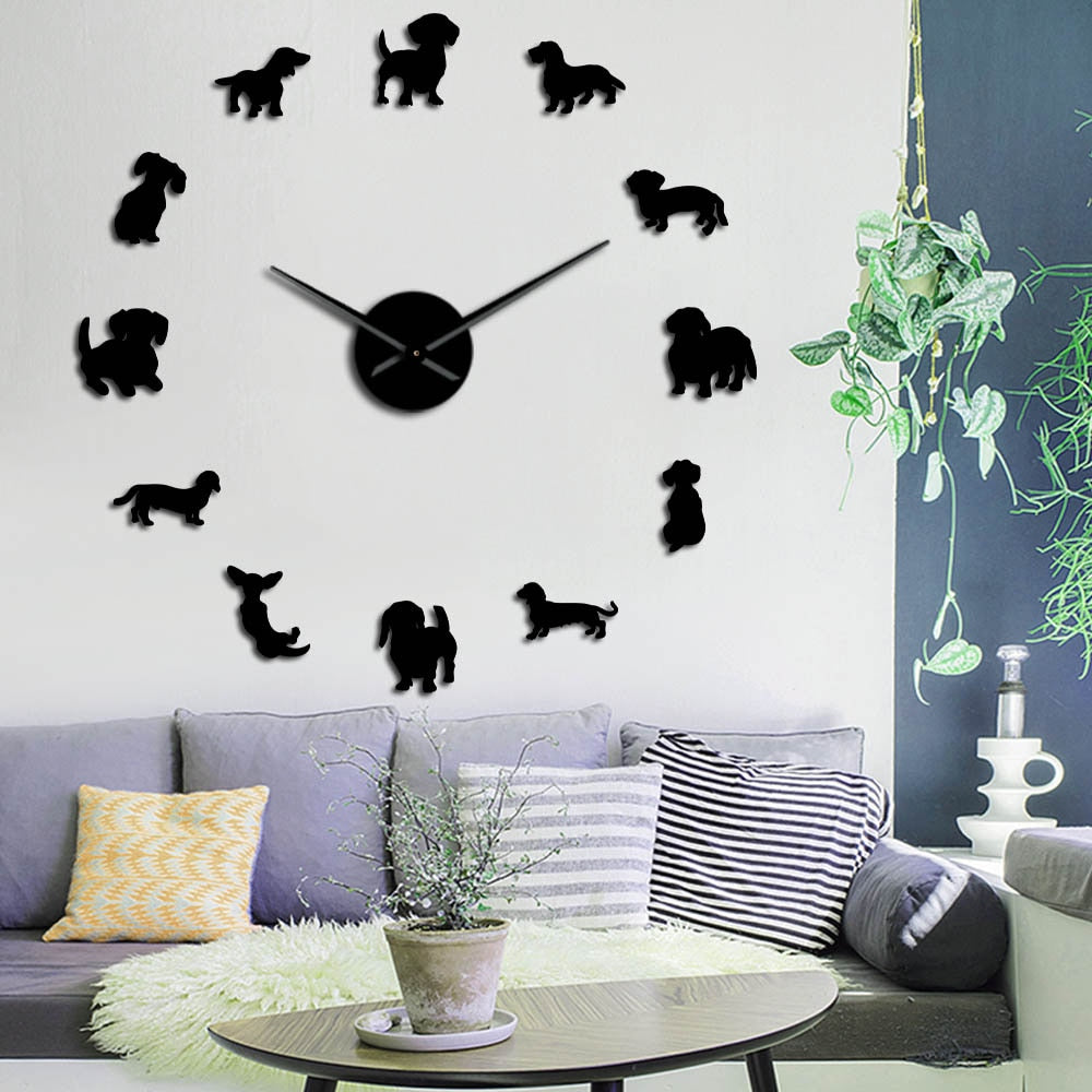Dachshund Dog Breeds Large DIY Wall Clock Watch Puppy Animals Mirror Stickers Pet Store Decor Hanging Watch Gift For Dog Lover