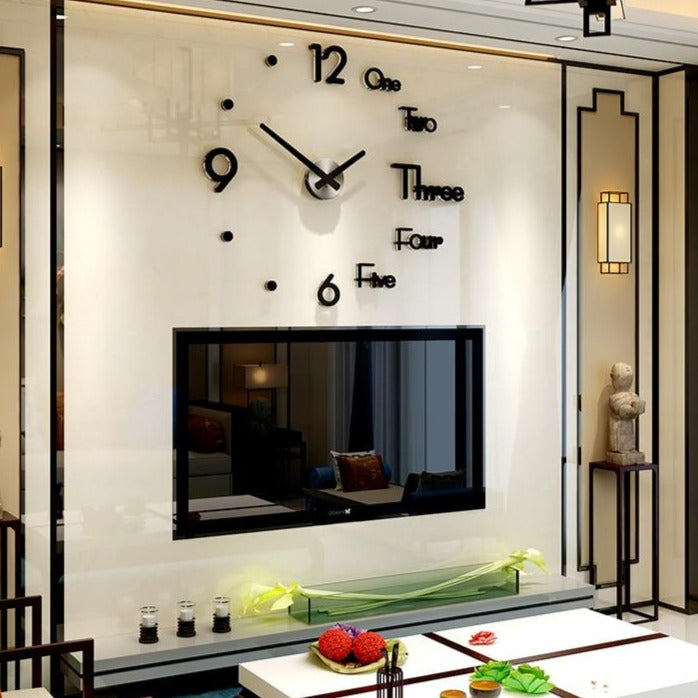 Large DIY Mirror Sticker Wall Clock