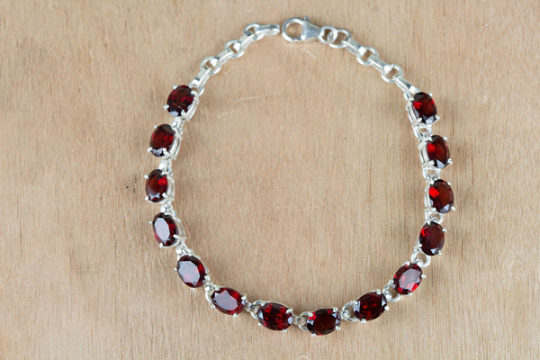 Faceted Garnet Gemstone Sterling Silver Bracelet