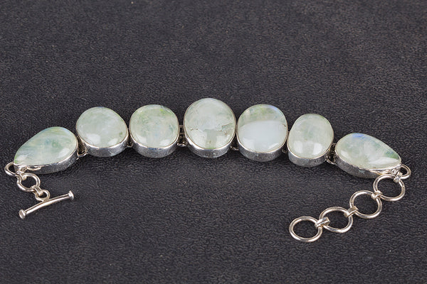 Green Rainbow Moonstone Gemstone Sterling Silver Bangle