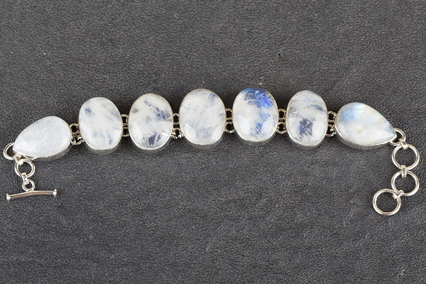 Rainbow Moonstone Gemstone Sterling Silver Bracelet