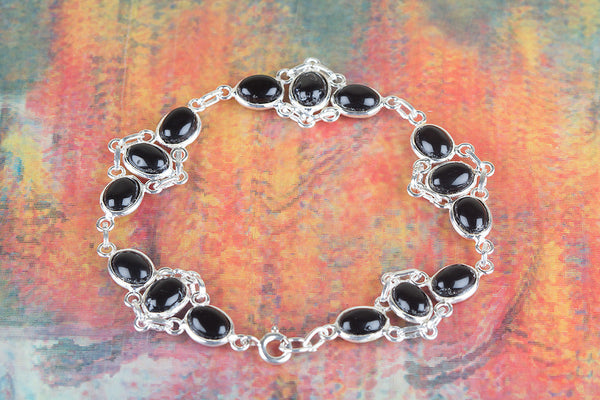 Black Onyx Gemstone Sterling Silver Bracelet