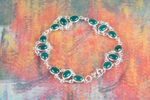 Green Onyx Gemstone Sterling Silver Bracelet,