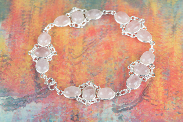 Rose Quartz Gemstone Sterling Silver Bracelet