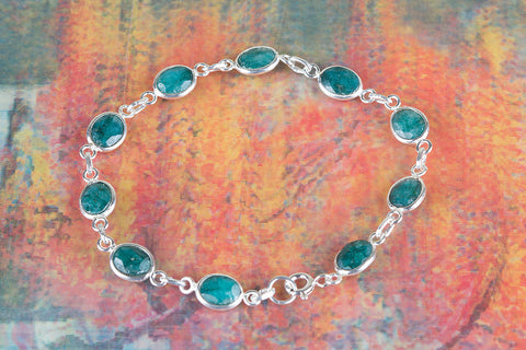 Emerald Gemstone Sterling Silver Bracelet