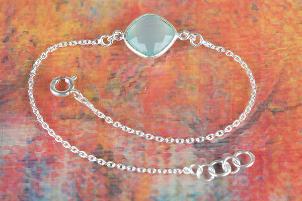 Faceted Aqua Chalcedony Gemstone Sterling Silver Bracelet