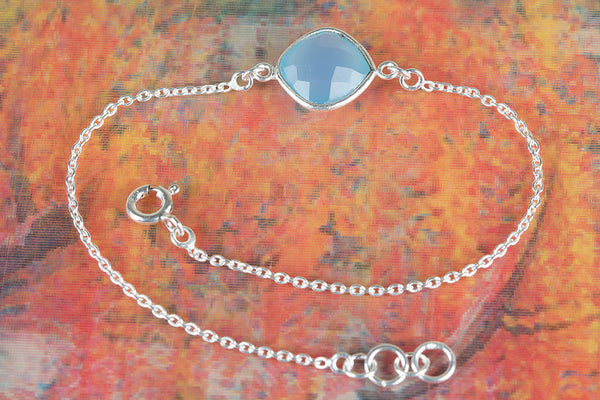 Faceted Blue Chalcedony Gemstone Sterling Silver Bracelet