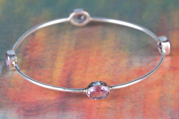 Faceted Amethsyt Gemstone Sterling Silver Bangle