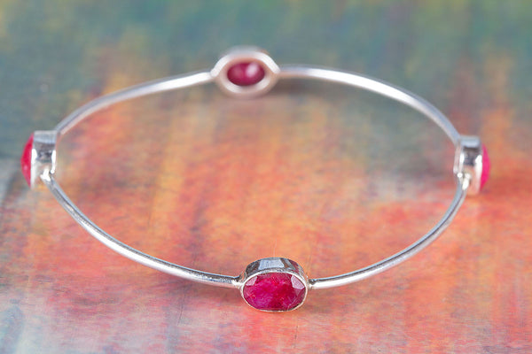 Faceted Pink Chalcedony Gemstone Sterling Silver Bracelet,