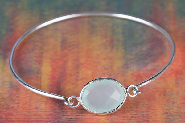 Faceted Aqua Chalcedony Gemstone Sterling Silver Bangle