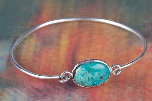 Natural Turquoise Gemstone Sterling Silver Bangle