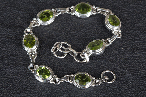 Faceted Peridot Gemstone Sterling Silver Bracelet