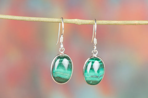 Malachite Gemstone Sterling Silver Earring