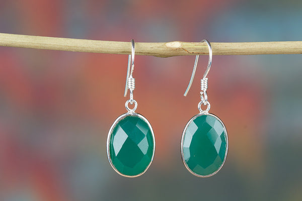 Faceted Green Onyx Gemstone Sterling Silver Earring
