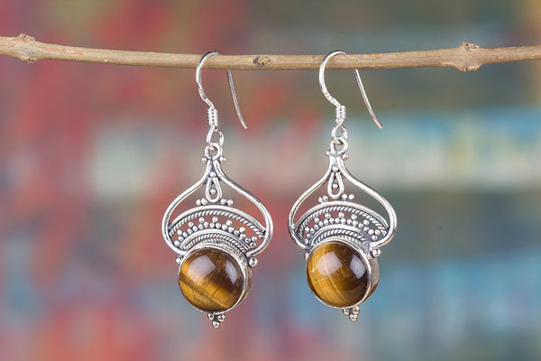 Tiger Eye Gemstone Sterling Silver Earring