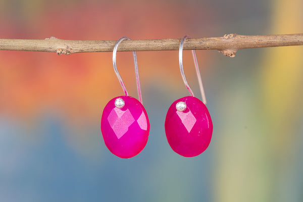 Faceted Pink Chaclcedony Gemstone 925 Silver Earring