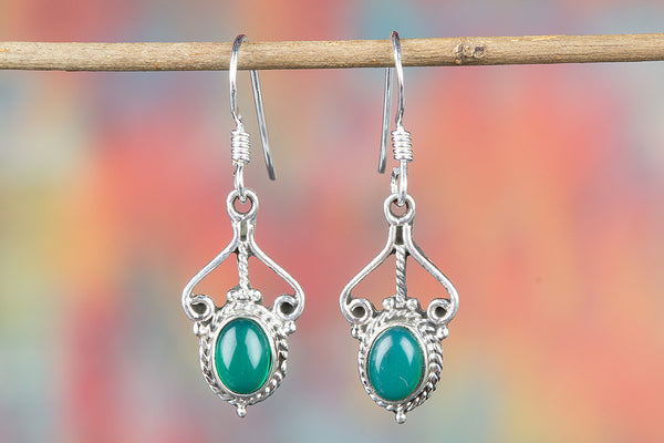 Green Onyx Gemstone Sterling Silver Earring