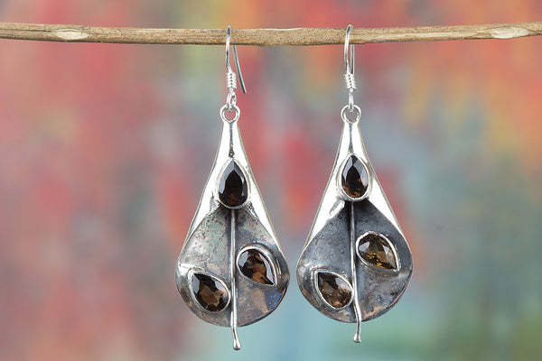 Faceted Smoky Quartz Gemstone Sterling Silver Earring