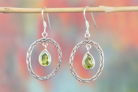 Peridot Gemstone Sterling Silver Earring