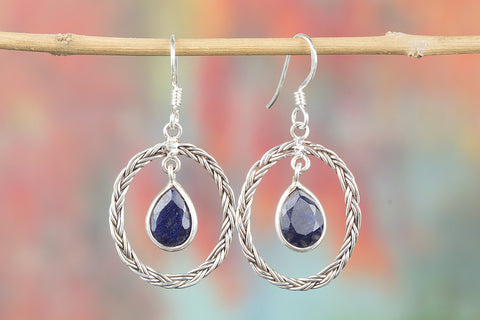 sapphire blue crystal earrings with sterling silver hooks, gemstone earrings, sterling sapphire earrings, blue sapphire
