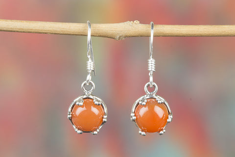Carnelian Gemstone Sterling Silver Earring