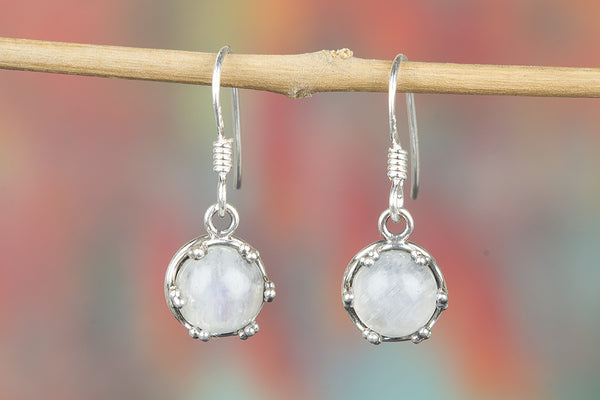 Rainbow Moonstone Gemstone Earring, Dangle Earrings, Bohemian Earring, Boho Earring, Gypsy Earring, Moon Earrings