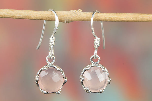 Faceted Rose Quartz Gemstone Sterling Silver Earring