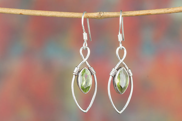 Faceted Peridot Gemstone Sterling Silver Earring