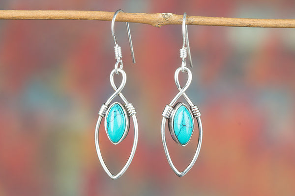 Turquoise Gemstone Sterling Silver, Stylish earring, Unique Design earring, Casual earring, Charm earring, Semiprecious Earrings , Everyday Earrings, yoga earring, Bride jewelry, Unique earrings, Boho earring, Anniversary Gift