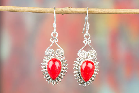 Coral Gemstone Sterling Silver Earring