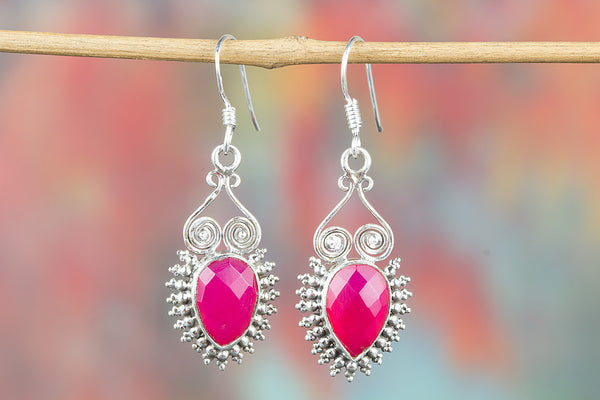 Faceted Pink Chalcedony Gemstone Sterling Silver Earring