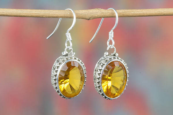 Faceted Citrine Lab Gemstone Sterling Silver Earring