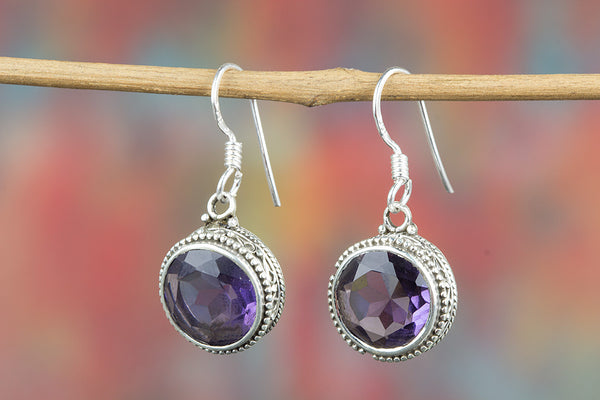 Faceted Amethyst Lab Gemstone Sterling Silver Earring